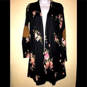 Long Sleeve Elbow-Patch Floral Duster Cardigan M